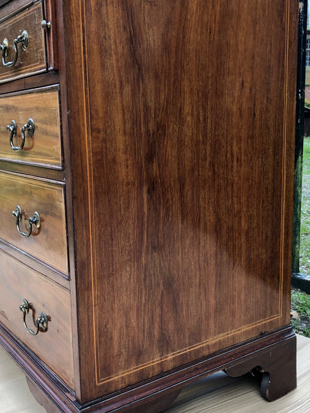 Tall Antique Mid Victorian Mahogany Hepplewhite Inlaid Marquetry Bureau Bookcase
