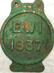 1 Vintage Original Reclaimed 1937 Cast Iron Green Railway Train Sign Plaque EW1