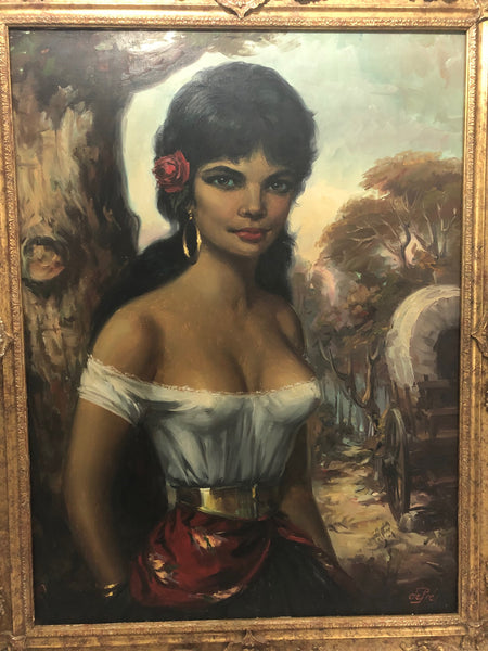 German School Original Art 20th Century Oil Painting Gypsy Girl Portrait Signed listed Artist