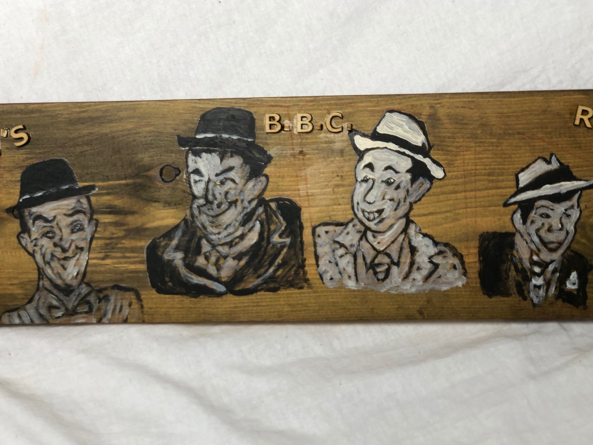 Vintage BBC Radio Laurel & Hardy Advertising Artwork Painting Sign Panel Plaque