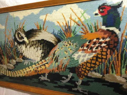 1 Original Vintage Tapestry Pheasant Game Birds Hand Embroidered Wall Hanging