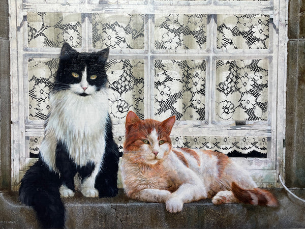 "Fine Oil Painting Cats Sitting ""Watching The World Go By"" Signed David C Lyons"