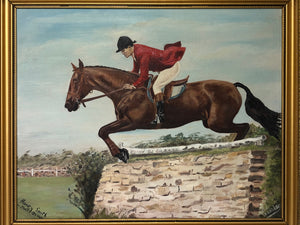 Oil Painting Portrait Show Jumping Champion Horse & Rider After Henry S Cottrell