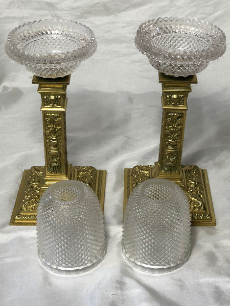 Pair Victorian Clarke's Cricklite Gilt Bronze Cut Glass Domed Shades Fairy Lamps