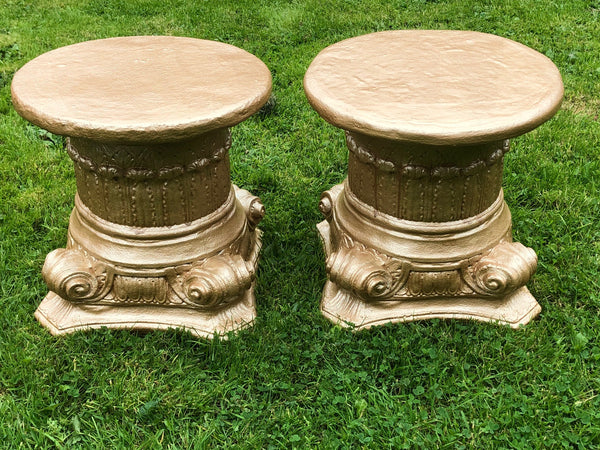 Pair Fine Victorian Style Gilt Bronzed Stone Scroll Classical Garden Plinths