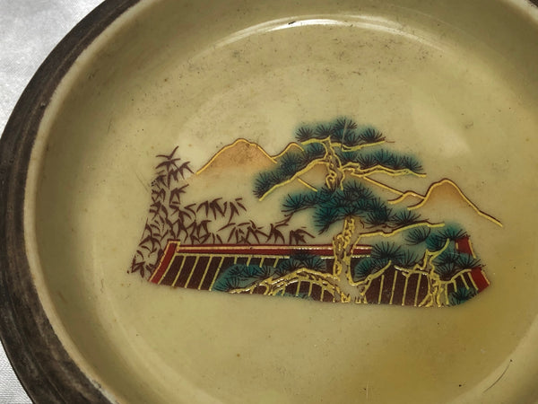 Small Fine Pottery Qianlong Style Oriental Hand Painted Mountains & Butterflies Bowl
