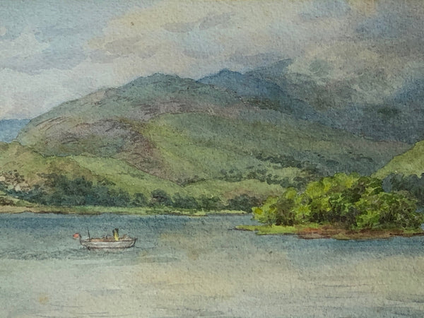 Fine 20th Century English Watercolour Windermere from Bowness Signed Dewhurst