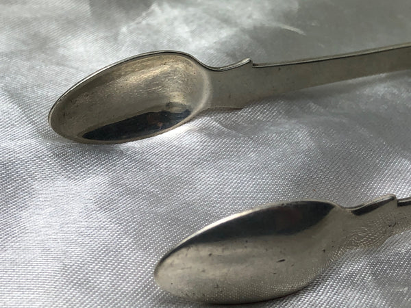 Antique 18th Century Silver Hallmarked Irish Georgian Sugar Tongs Heron Crest