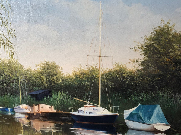 Oil Painting Pastoral Landscape Boats Heybridge Basin Canal Listed Graham Petley