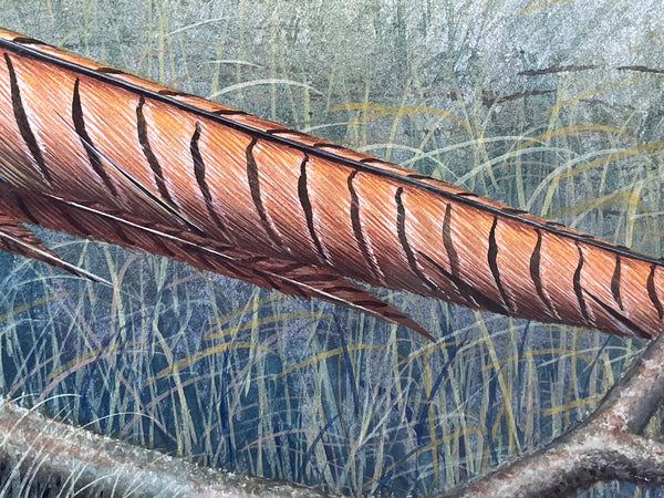Vintage Original Round Carved Wood Canadian Birds Geese Sculpture Plaque Signed