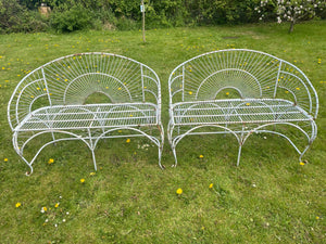 Pair Art Deco Style Architectural Peacock Design Garden Curved Benches