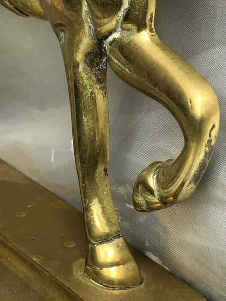 Antique English Victorian Graceful Equestrian Horse Brass Door Stop