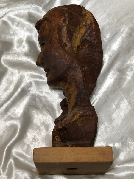 20th Century French Carved Wood Study Lady's Head Bust Sculpture