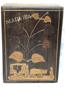 Antique 19th Century Religious Portuguese Madeira Marquetry Money Collection Box