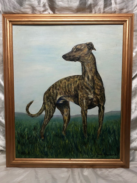Victorian Style Fine Oil Painting Greyhound Dog Portrait After Matthew Nutter