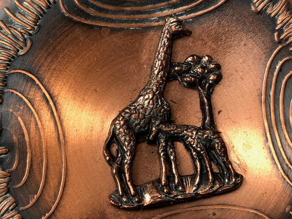 Vintage Copper South Africa Wild Lions Elephants Giraffes Antelope Wall Plaque