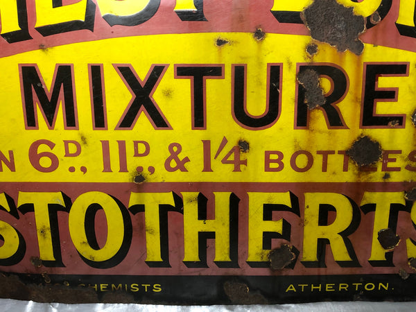 Large Rare Medicine Chemist Stotherts Atherton Chest & Lung Mixture Enamel Sign