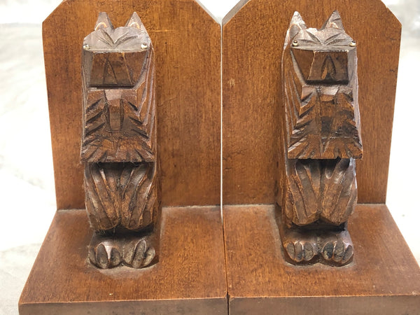 Pair Scottish Terrier Dogs Carved Black Forest Style Wood Sculptures Bookends