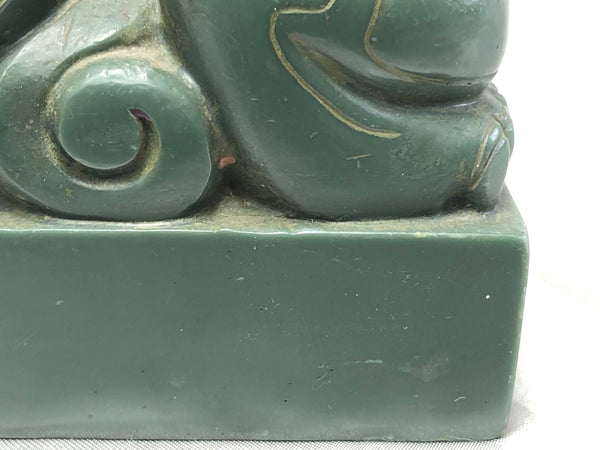 Ming Style Chinese Green Temple Foo Dog Chinese Seal Stamp Sculpture
