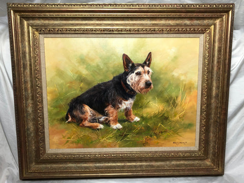 "British School Artwork Oil Painting ""The Faithful Friend"" Dog Portrait Listed Frederick J Haycock"