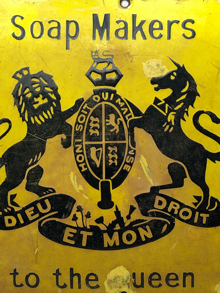 Vintage Advertising Soap Makers To The Queen Royal Crest Warrant Enamel Wall Plaque Sign