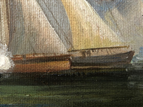 Marine Oil Painting Napoleonic War Sea French Battle Ships Coast Signed Haden