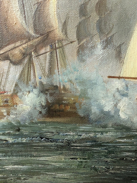 "Marine Oil Painting Napoleonic War Sea French English ""Battle Trafalgar"" Ships Coast Signed Haden"
