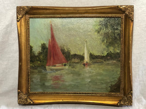 Marine Oil Painting Sailing Racing Boats Thames By Windsor After Sydney Thompson