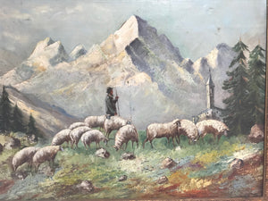 19th Century Italian Oil Canvas Painting Matternhorn Mountain Sheep Aosta Valley