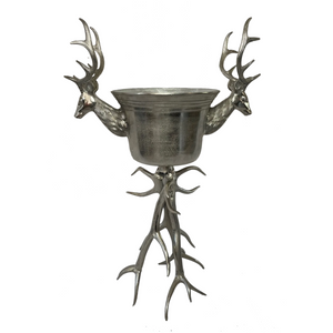Large French Silver Plate Stags Deer Antlers Stand Champagne Wine Ice Bowl Cooler