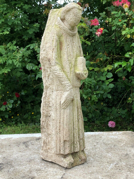 Medieval Reclaimed 16th Century Antique Carved Stone Sculpture Religious Monk Bible