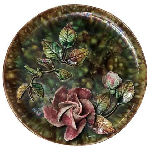 Rare Majolica Art Nouveau High Relief Rose Foliage Wall Plate Plaque