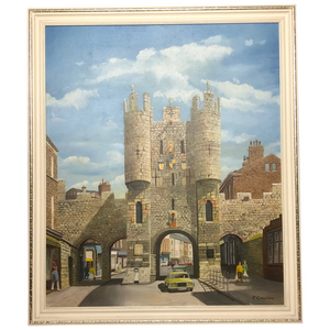 "Fine Oil Painting Architectural Entrance ""Micklegate Bar"" York Signed F Chilton"