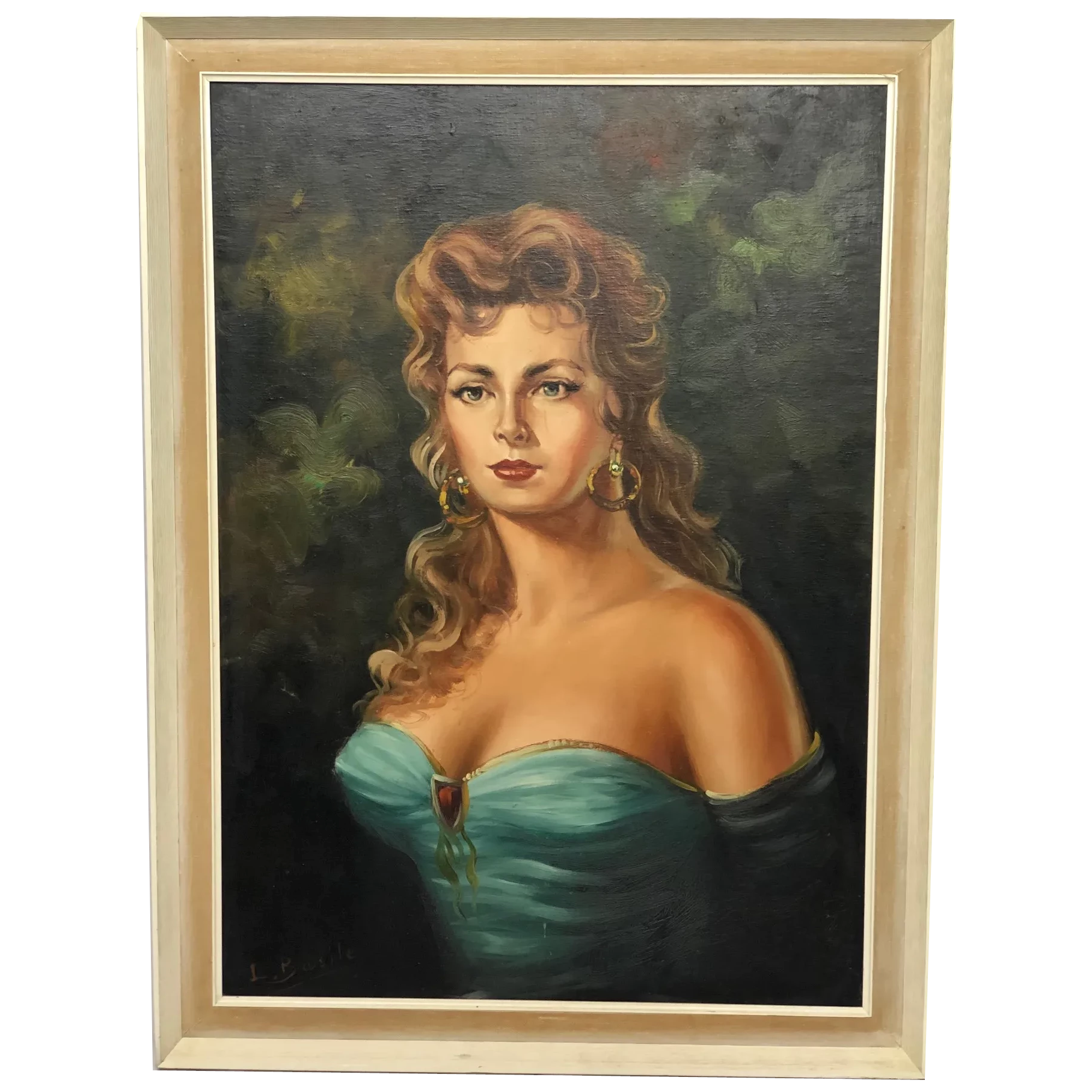 20th Century French Oil Painting Lady Turquoise Dress Portrait Signed L Basile