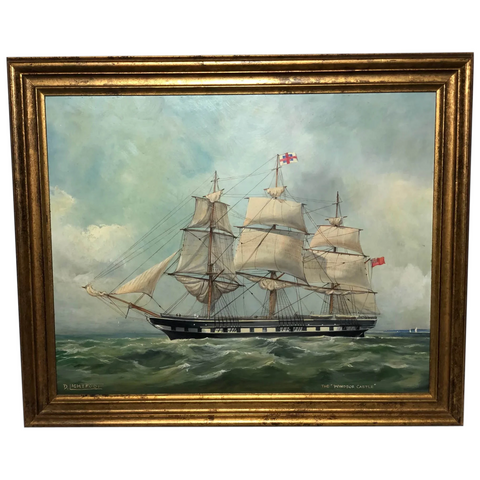 "Marine Oil Painting ""Windsor Castle"" Mail Steamer Ship Signed Dorothy Lightfoot (1909-2002)"