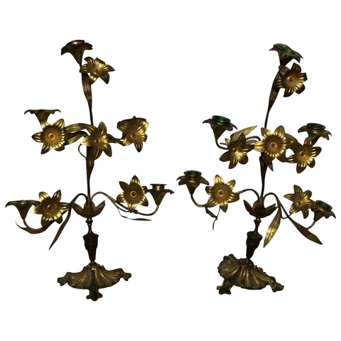 Pair Rare Antique Art Nouveau French Gilt Bronze Ormolu 5 Branch Candelabra's