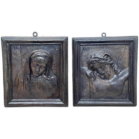 Pair Antique Belgium Ecclesiatical Mary & Jesus Wall Plaster Plaque Sculptures