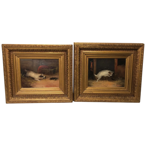 Pair Victorian 19th Century Oil Paintings Terrier Dogs Ratting Signed J Langlois