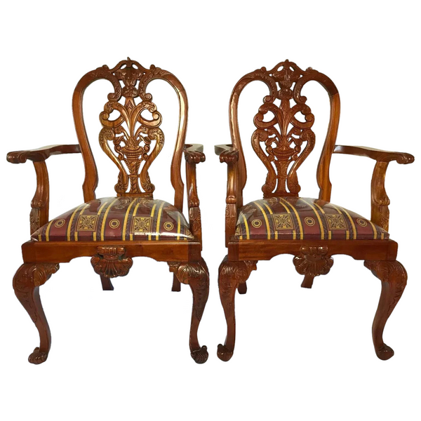 Set English Chippendale Regency Style Mahogany Acanthus Carver Dining Chairs