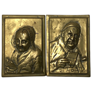Pair Architectural Scottish Victorian Gilt Bronze Pipe Smoker Gentleman & Lady Plaques