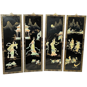 Set 4 Japanese Shibayama Gilt Artworks Temple Geisha Lady's Wall Panel Plaques