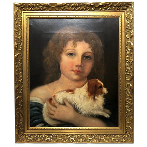 Antique Victorian Oil Painting Portrait Young Girl & Cavalier King Charles Spaniel