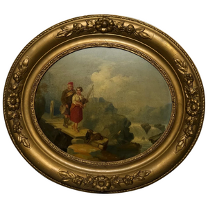 Victorian Scottish Highland Oval Oil Painting Ghillie & Girl Bagpipes & Terrier