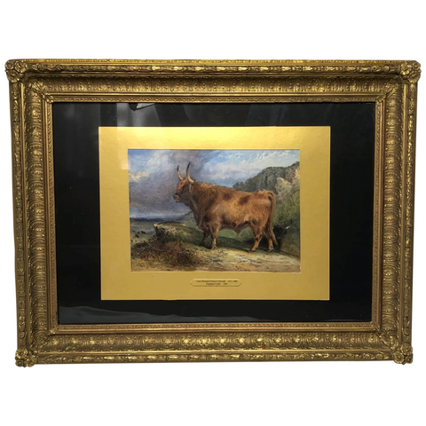 Victorian Scottish Highland Painting Of Cattle By Aster Richard Chilton Corbould