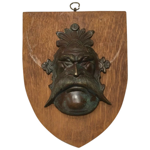 Vintage Bronze Acanthus Moustache Mask Green Man Wall Shield Plaque