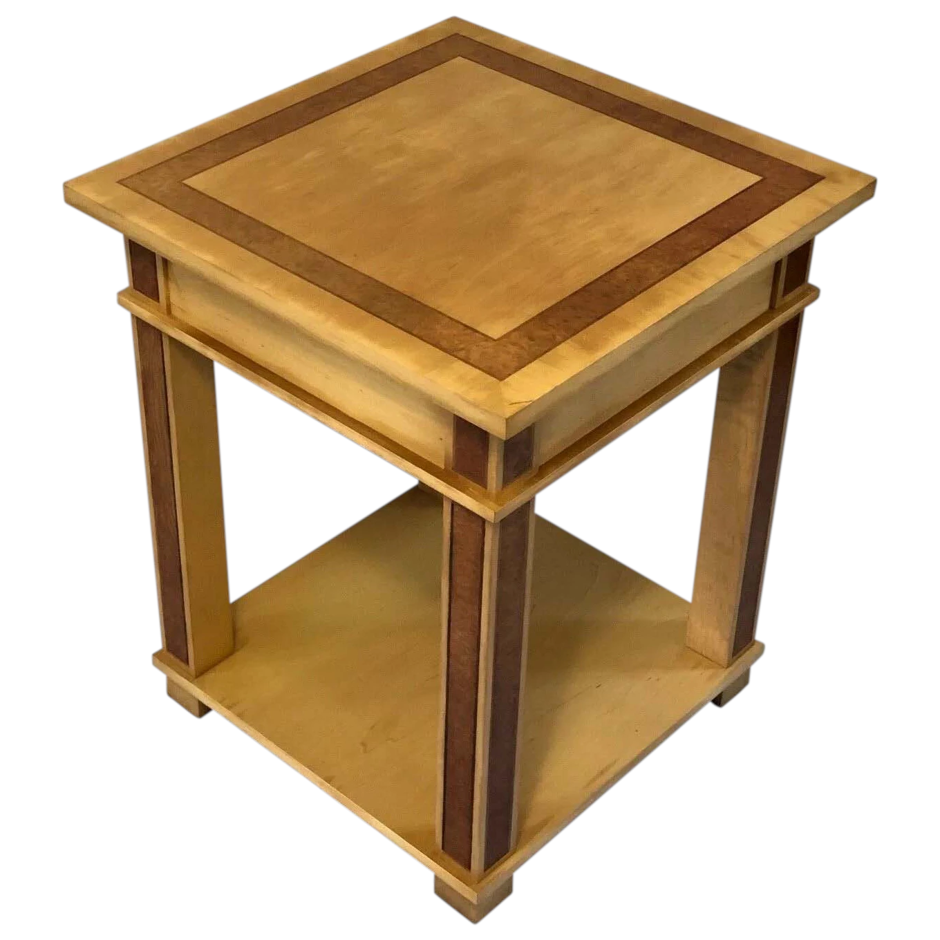 Art Deco Style Vintage 20th Century French Blonde Wood Side Table