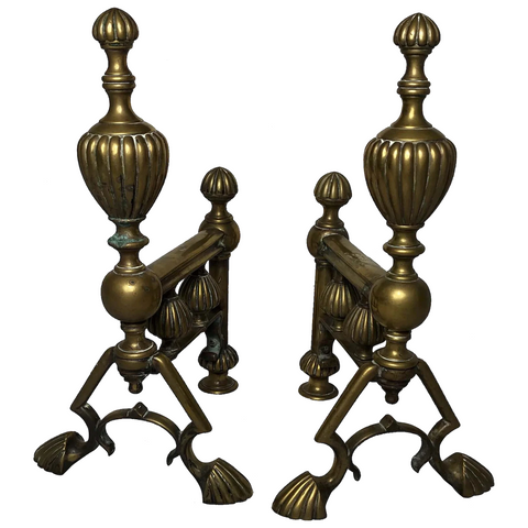 Pair Fine Antique 19th Century Victorian Brass Fire Dogs Reeded Finials Paw Feet