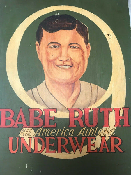Vintage Style Baseball Babe Ruth Advertising Hand Painted Wood Wall Hanging Sign