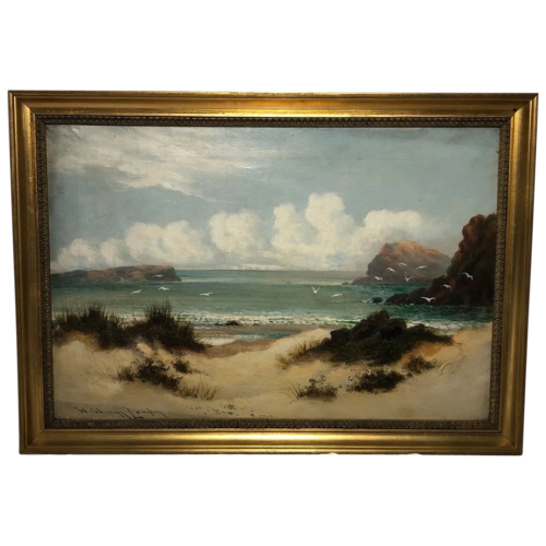 Antique Oil Painting Beach Marine Scene Gulls On The Shoreline William Langley