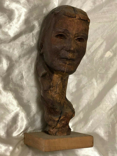 Original 1950's Artwork French Vintage Carved Wood Sculpture Lady's Head Bust